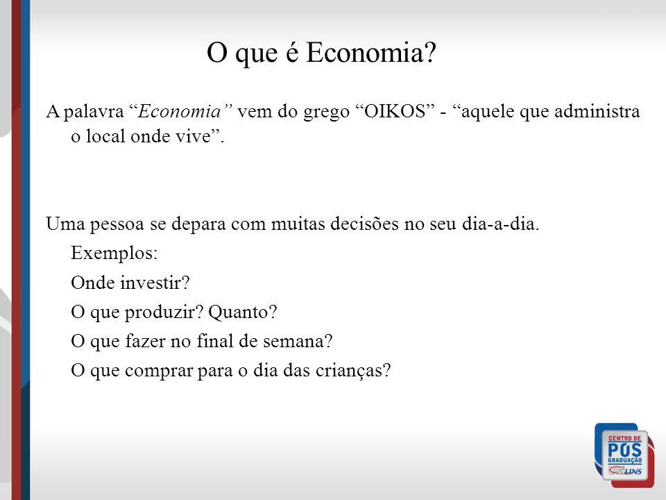 O que é Economia A palavra Economia vem do grego OIKOS - aquele que administra o local onde vive .