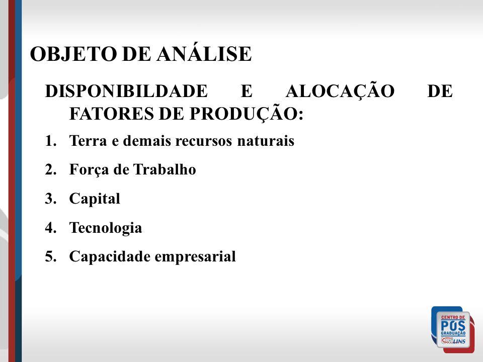 OBJETO DE ANÁLISE DISPONIBILDADE E ALOCAÇÃO DE FATORES DE PRODUÇÃO: