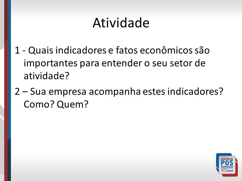 Atividade 1 - Quais indicadores e fatos econômicos são importantes para entender o seu setor de atividade