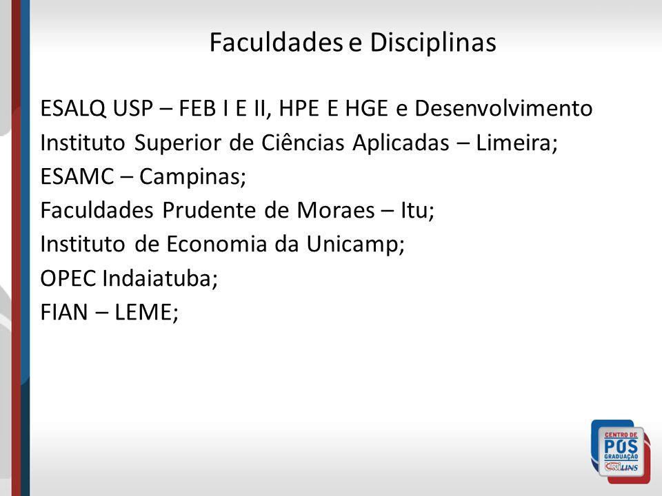 Faculdades e Disciplinas