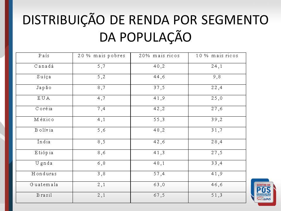 DISTRIBUIÇÃO DE RENDA POR SEGMENTO DA POPULAÇÃO