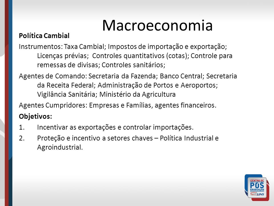 Macroeconomia Política Cambial