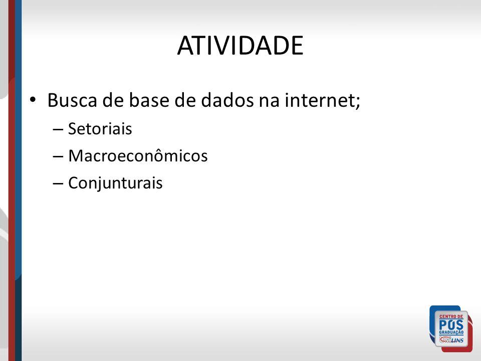 ATIVIDADE Busca de base de dados na internet; Setoriais