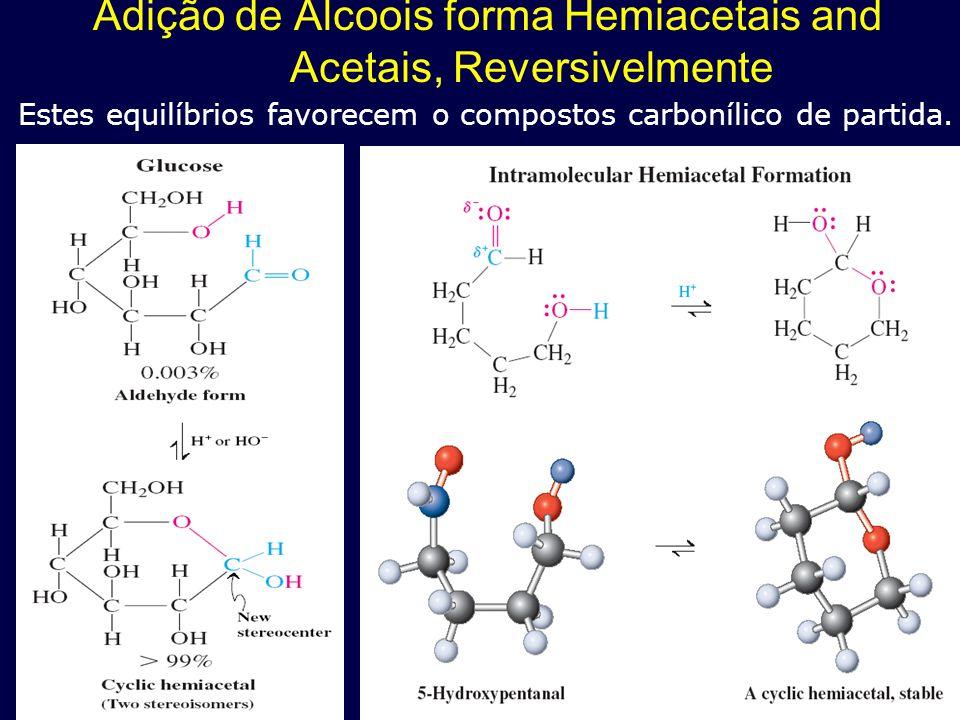 Adição de Álcoois forma Hemiacetais and Acetais, Reversivelmente
