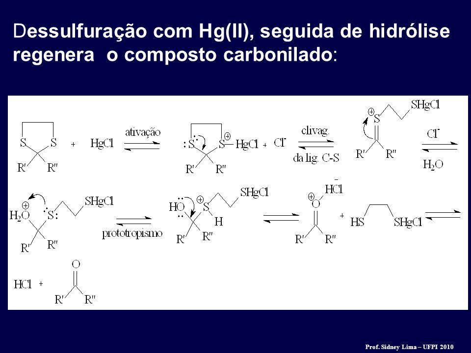 Dessulfuração com Hg(II), seguida de hidrólise regenera o composto carbonilado:
