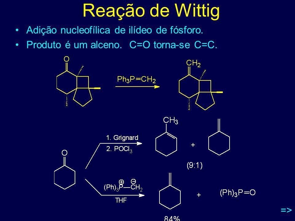 Reação de Wittig Adição nucleofílica de ilídeo de fósforo.