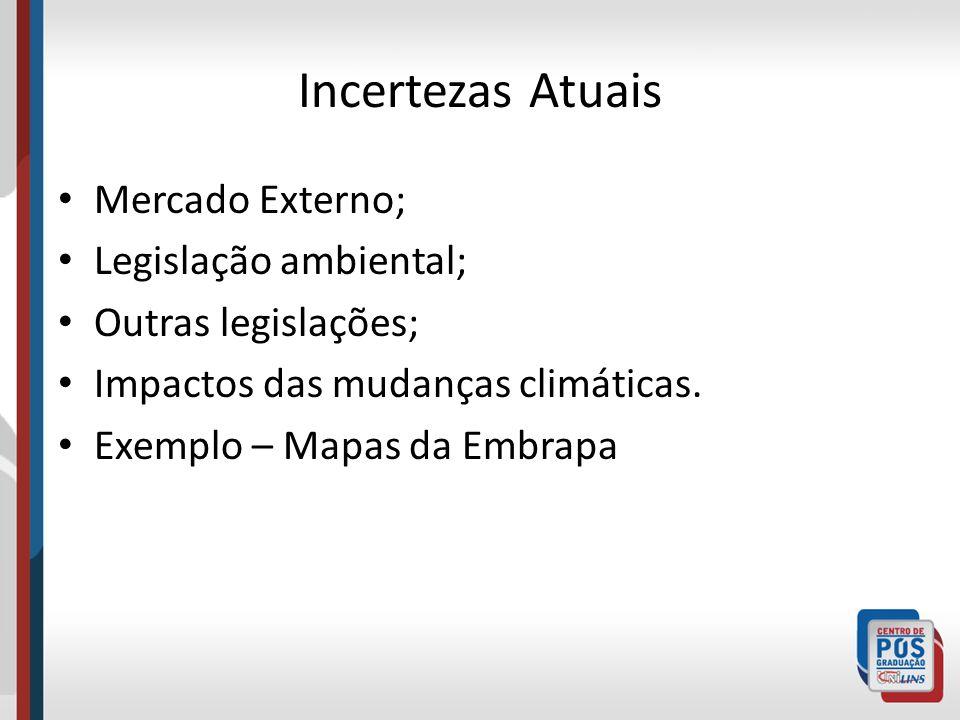 Incertezas Atuais Mercado Externo; Legislação ambiental;