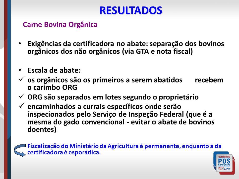 RESULTADOS Carne Bovina Orgânica. Exigências da certificadora no abate: separação dos bovinos orgânicos dos não orgânicos (via GTA e nota fiscal)