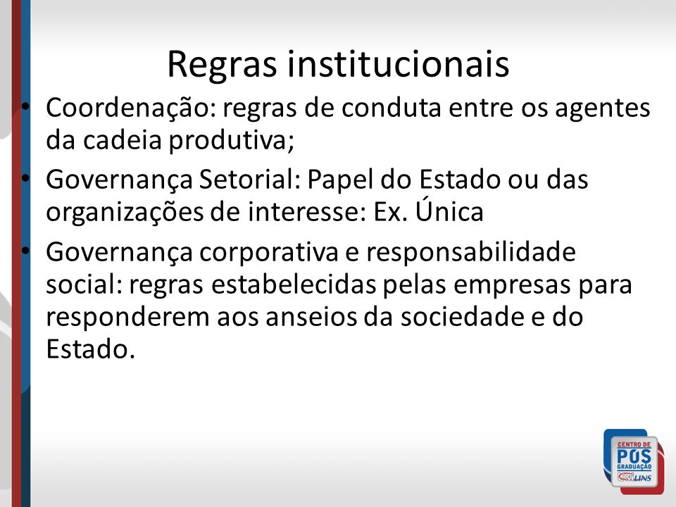 Regras institucionais