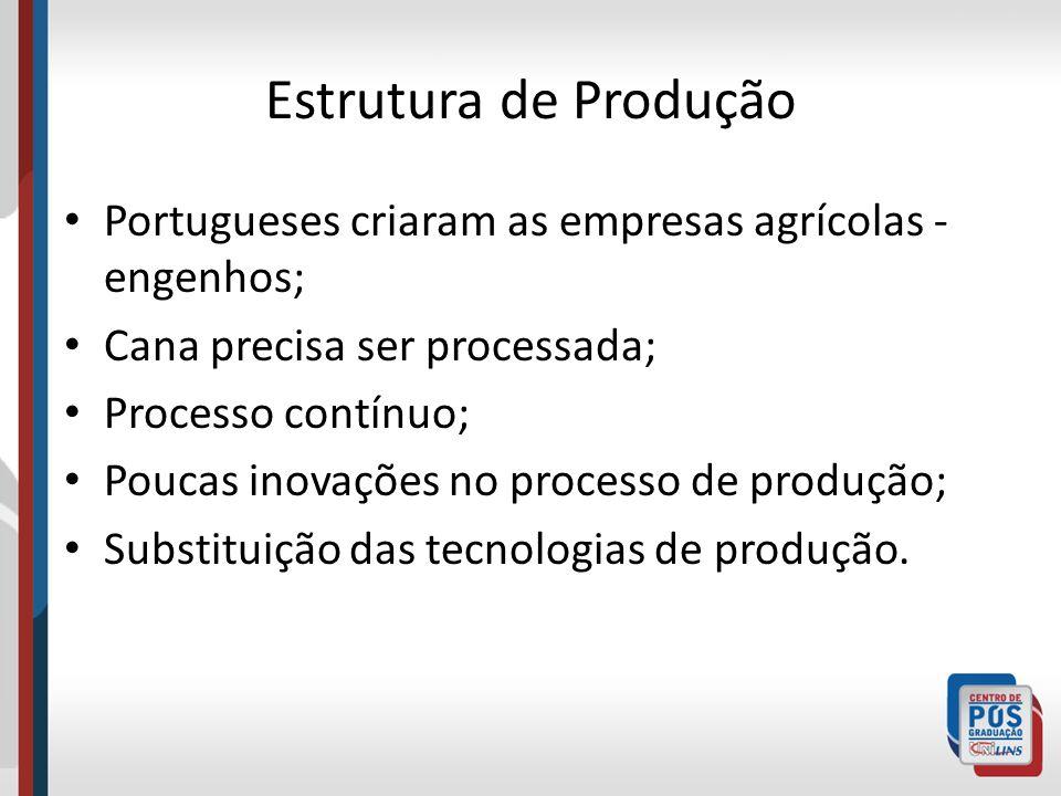 Estrutura de Produção Portugueses criaram as empresas agrícolas - engenhos; Cana precisa ser processada;