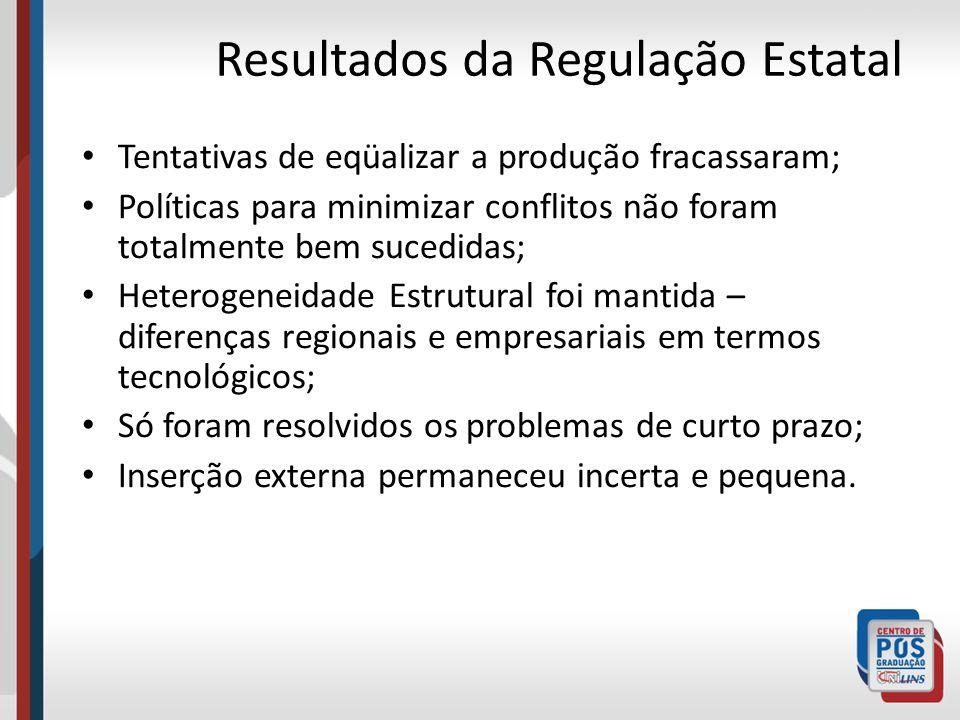 Resultados da Regulação Estatal