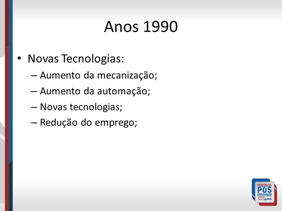 Anos 1990 Novas Tecnologias: Aumento da mecanização;