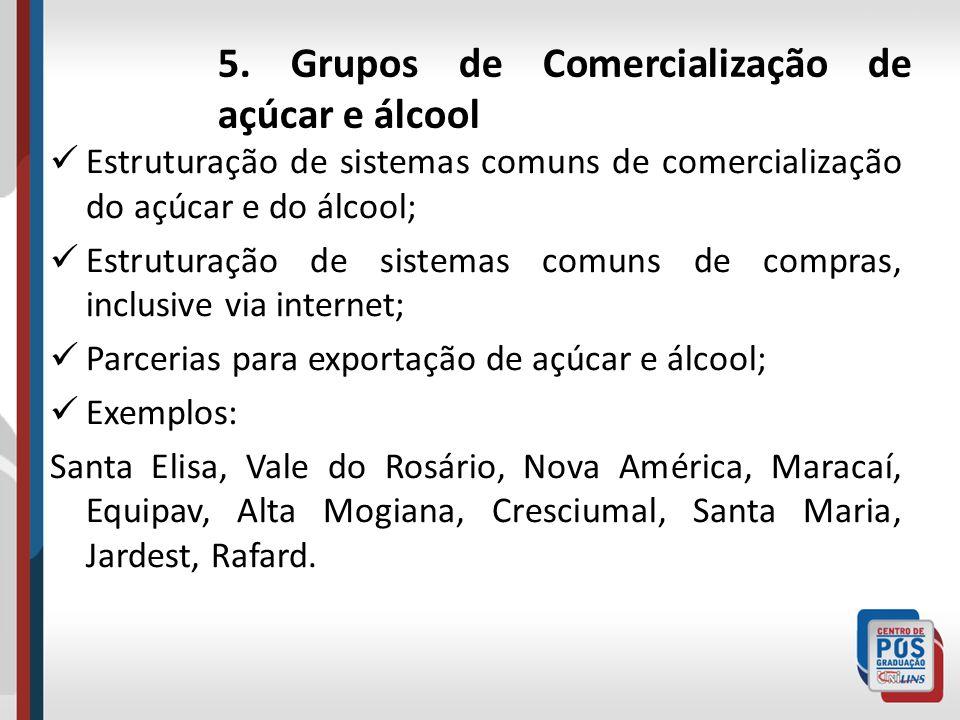 5. Grupos de Comercialização de açúcar e álcool