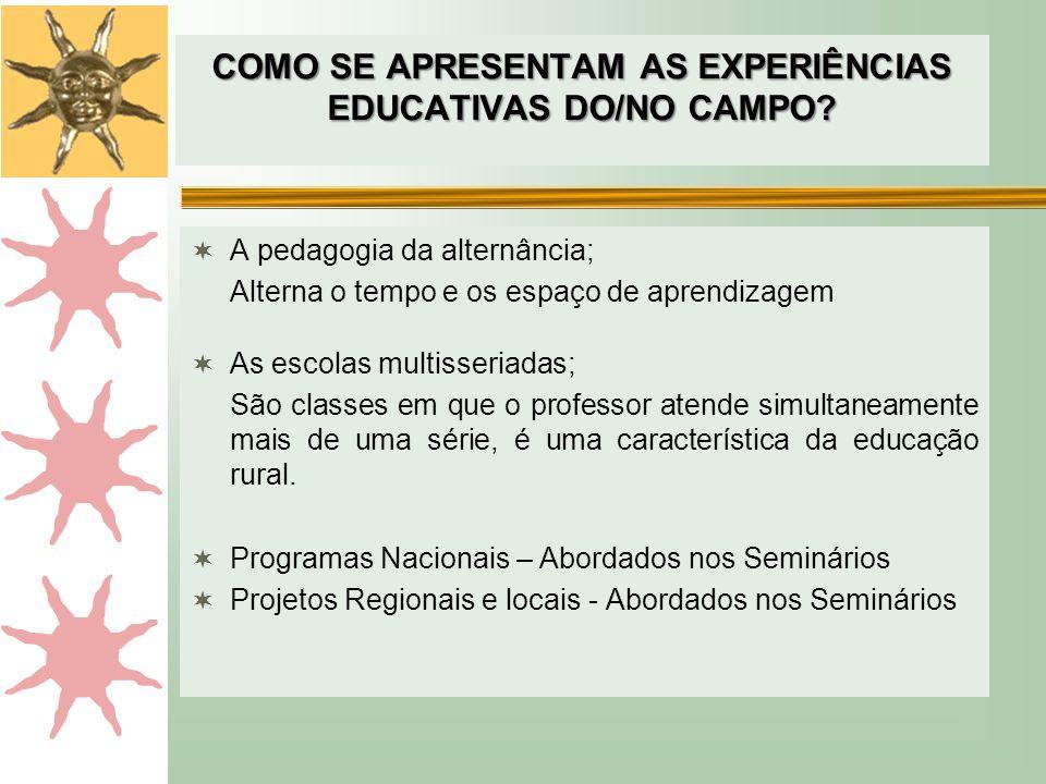 COMO SE APRESENTAM AS EXPERIÊNCIAS EDUCATIVAS DO/NO CAMPO
