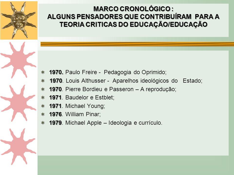 MARCO CRONOLÓGICO : ALGUNS PENSADORES QUE CONTRIBUÍRAM PARA A TEORIA CRITICAS DO EDUCAÇÃO/EDUCAÇÃO
