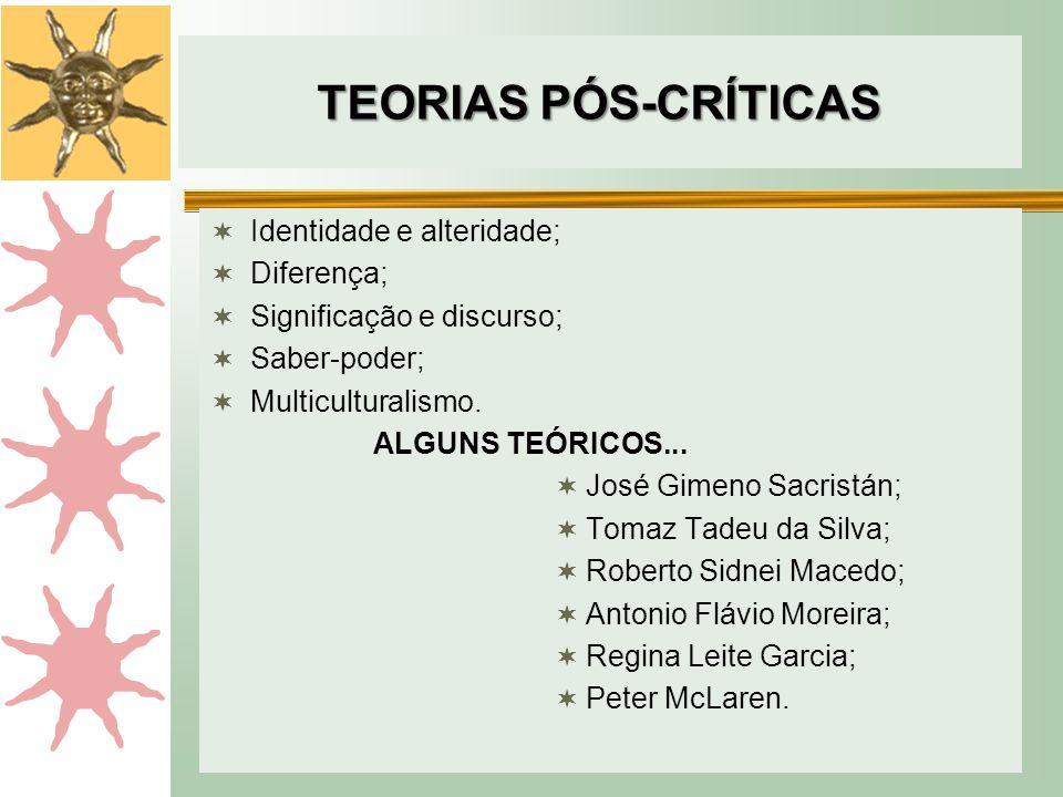 TEORIAS PÓS-CRÍTICAS Identidade e alteridade; Diferença;