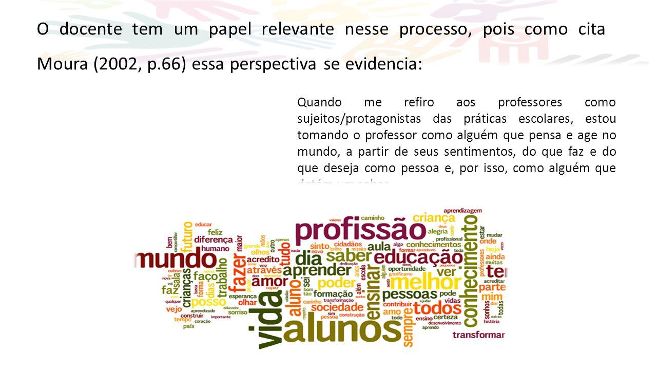 O docente tem um papel relevante nesse processo, pois como cita Moura (2002, p.66) essa perspectiva se evidencia: