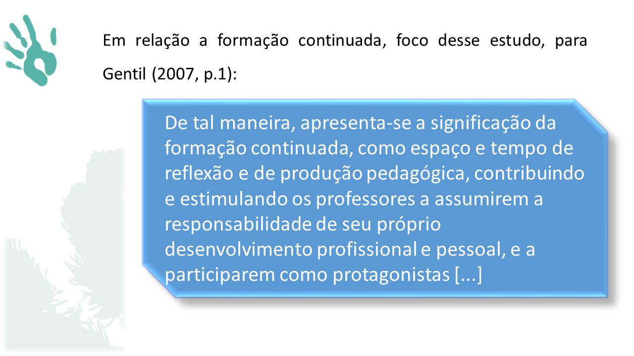 Em relação a formação continuada, foco desse estudo, para Gentil (2007, p.1):