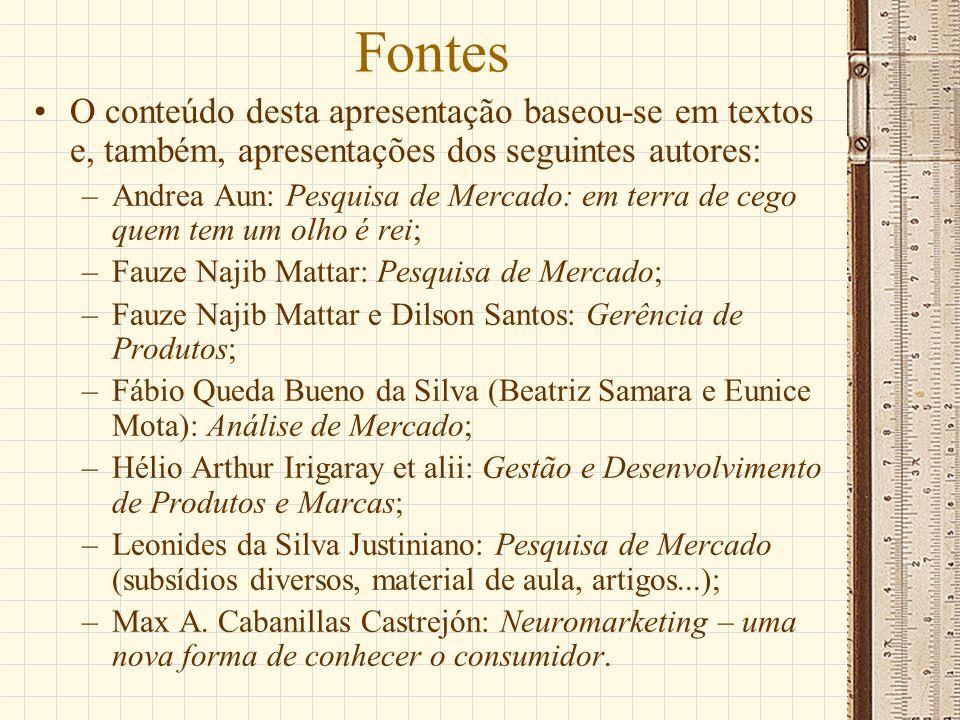 Fontes O conteúdo desta apresentação baseou-se em textos e, também, apresentações dos seguintes autores: