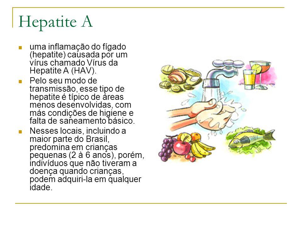 Hepatite A uma inflamação do fígado (hepatite) causada por um vírus chamado Vírus da Hepatite A (HAV).