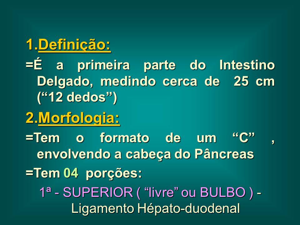 1ª - SUPERIOR ( livre ou BULBO ) - Ligamento Hépato-duodenal