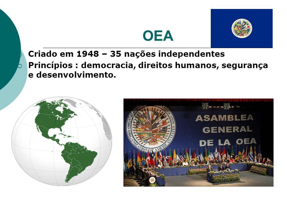 OEA Criado em 1948 – 35 nações independentes