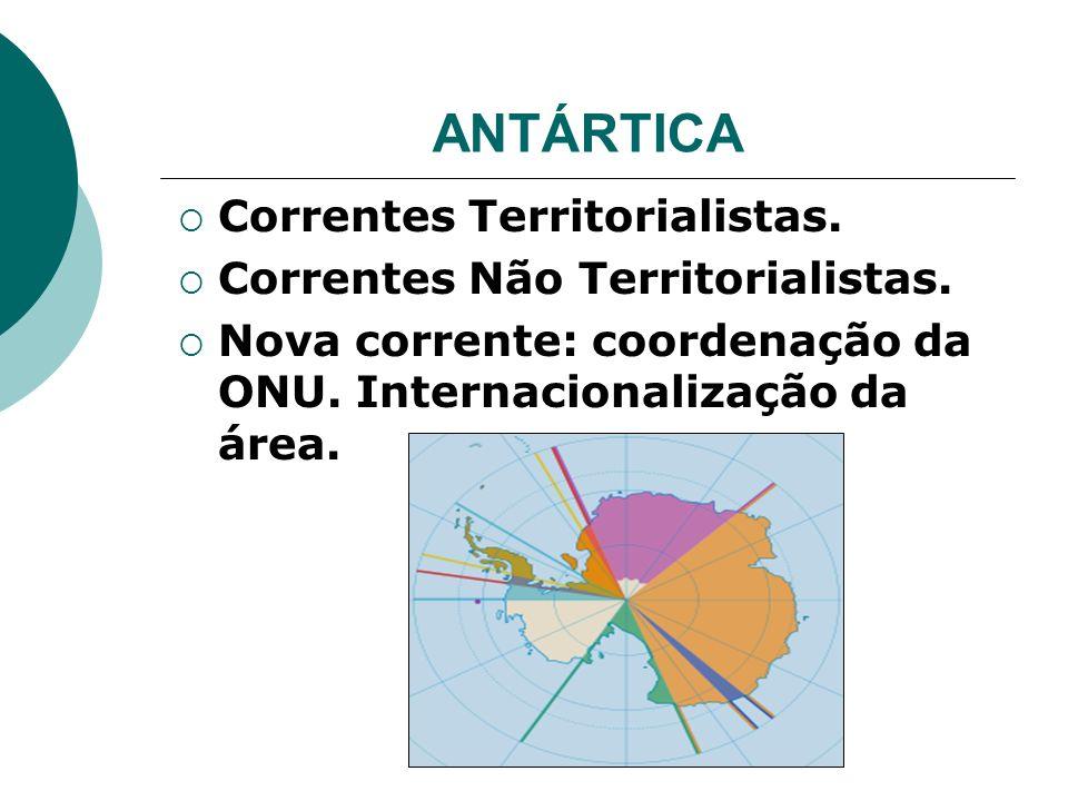 ANTÁRTICA Correntes Territorialistas. Correntes Não Territorialistas.