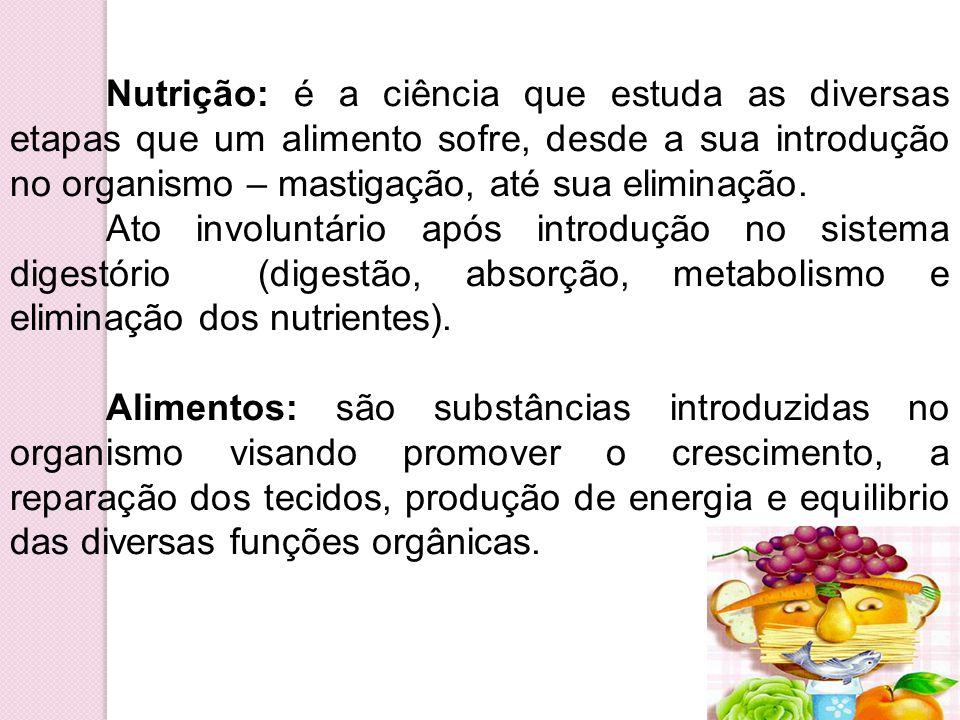 Nutrição: é a ciência que estuda as diversas etapas que um alimento sofre, desde a sua introdução no organismo – mastigação, até sua eliminação.