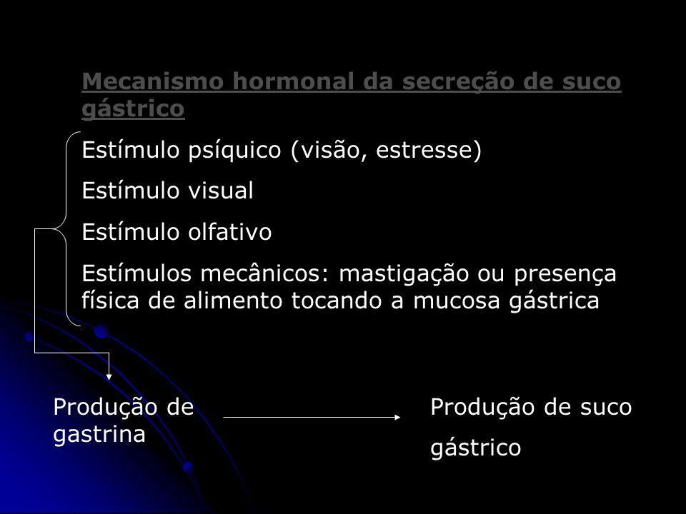 Mecanismo hormonal da secreção de suco gástrico