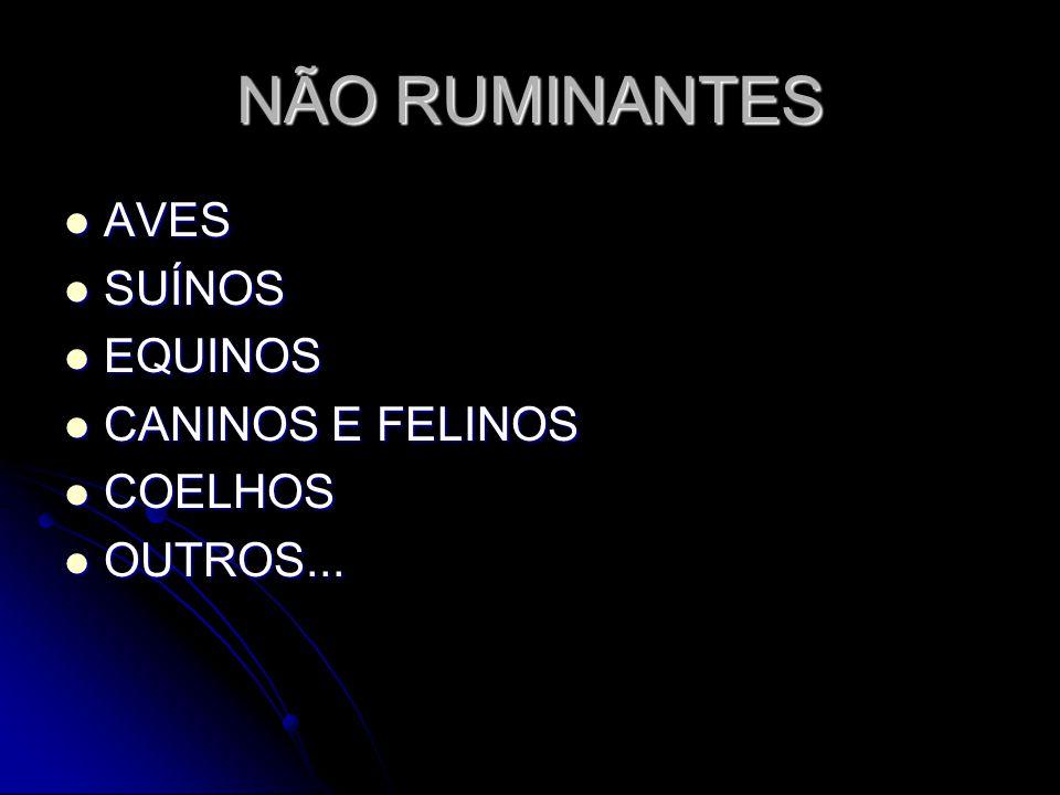 NÃO RUMINANTES AVES SUÍNOS EQUINOS CANINOS E FELINOS COELHOS OUTROS...