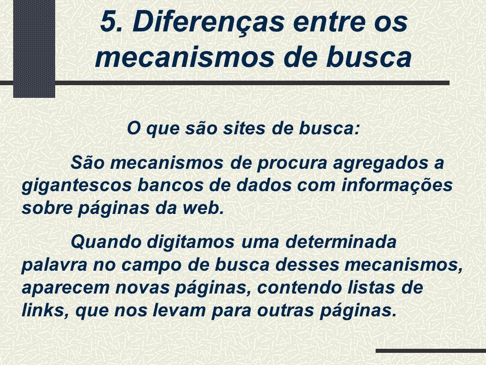 5. Diferenças entre os mecanismos de busca O que são sites de busca: