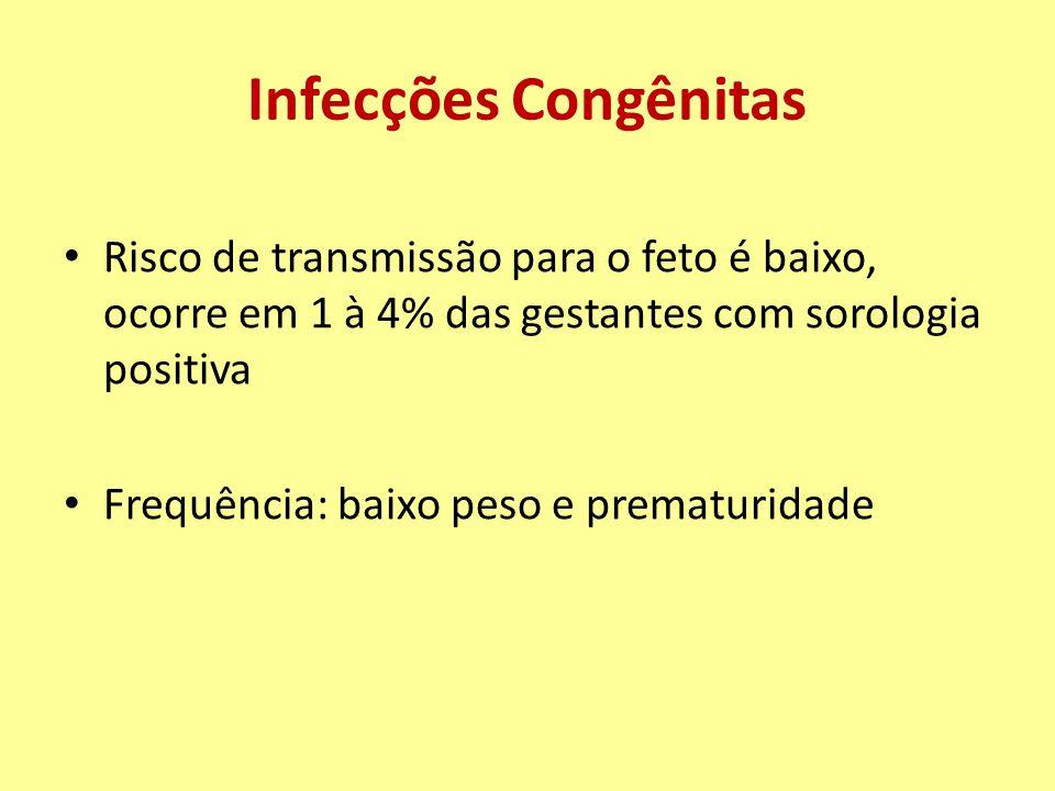 Infecções Congênitas Risco de transmissão para o feto é baixo, ocorre em 1 à 4% das gestantes com sorologia positiva.