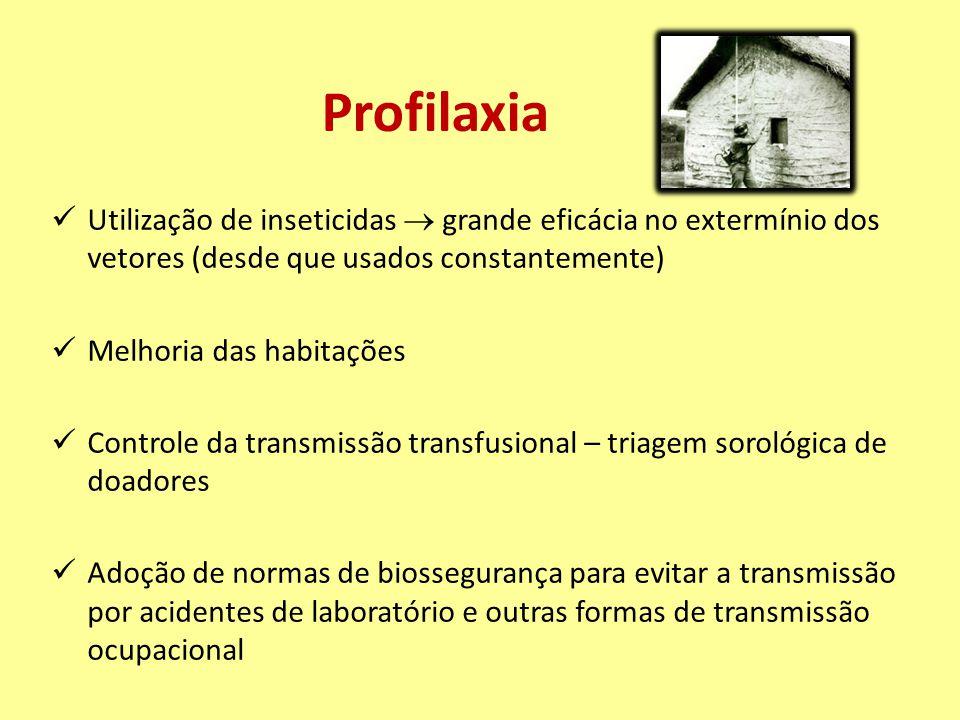Profilaxia Utilização de inseticidas  grande eficácia no extermínio dos vetores (desde que usados constantemente)