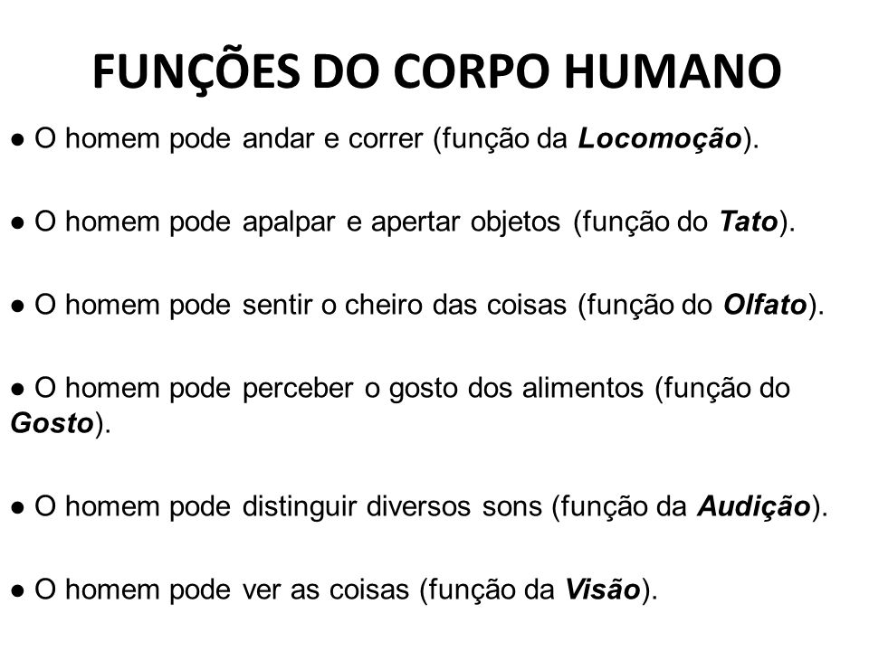 FUNÇÕES DO CORPO HUMANO