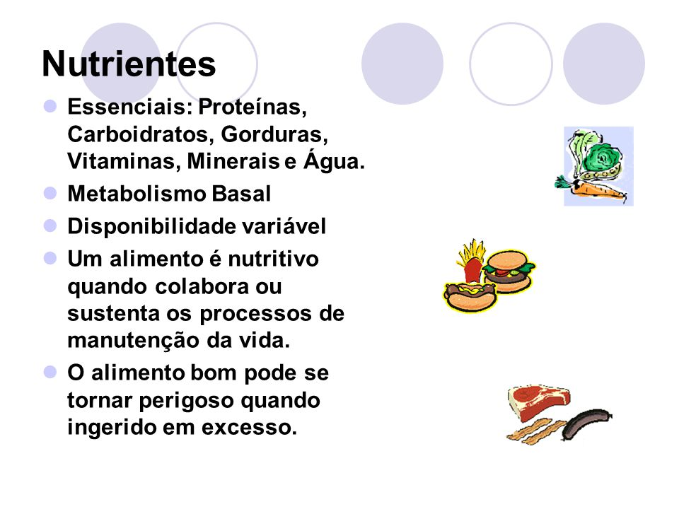 Nutrientes Essenciais: Proteínas, Carboidratos, Gorduras, Vitaminas, Minerais e Água. Metabolismo Basal.