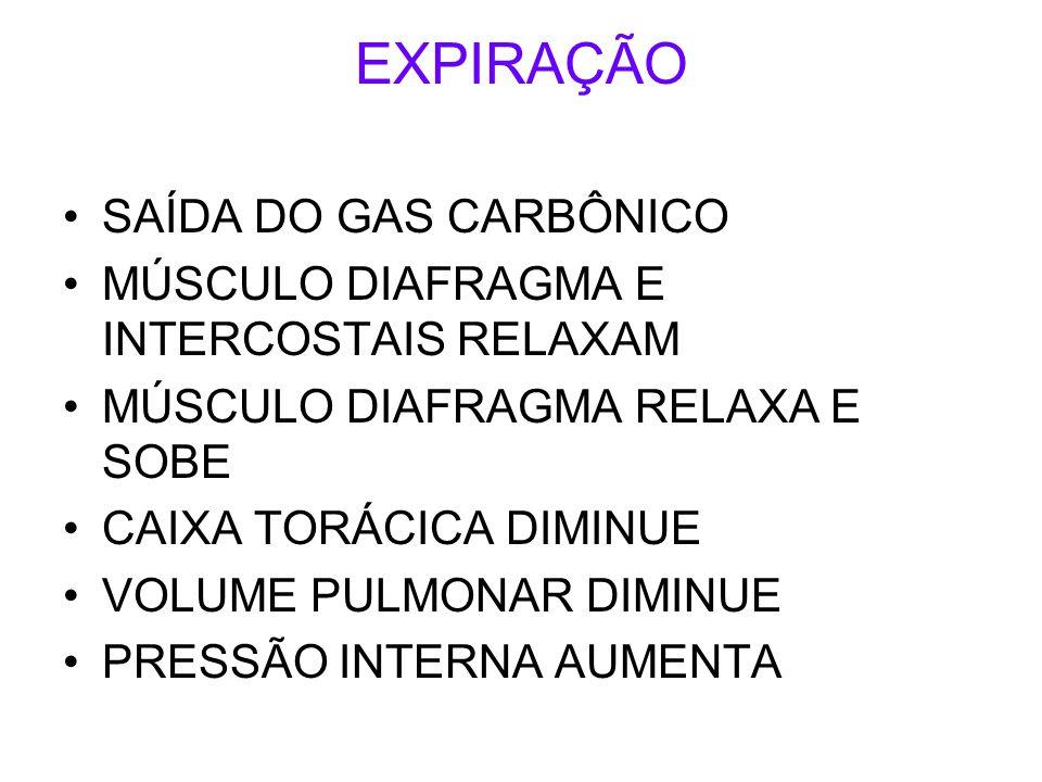 EXPIRAÇÃO SAÍDA DO GAS CARBÔNICO