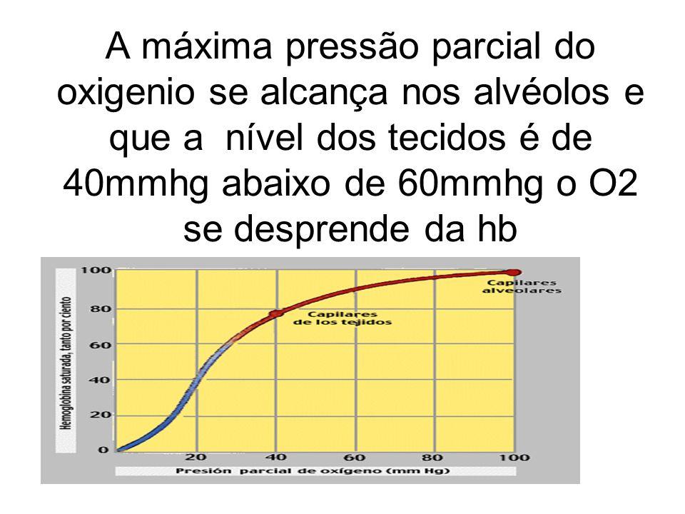 A máxima pressão parcial do oxigenio se alcança nos alvéolos e que a nível dos tecidos é de 40mmhg abaixo de 60mmhg o O2 se desprende da hb