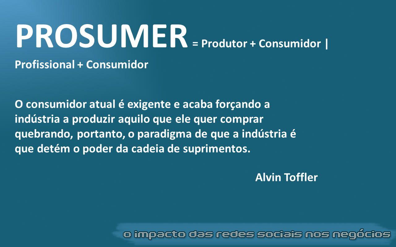 PROSUMER = Produtor + Consumidor | Profissional + Consumidor