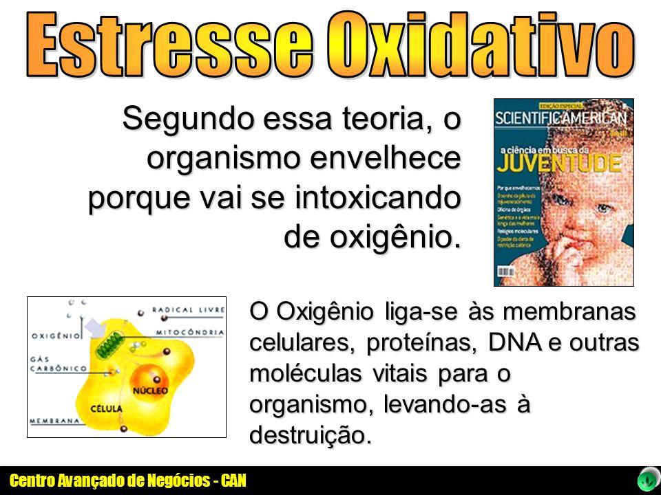 Estresse Oxidativo Segundo essa teoria, o organismo envelhece porque vai se intoxicando de oxigênio.