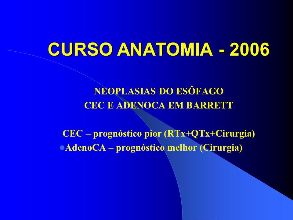 CEC E ADENOCA EM BARRETT CEC – prognóstico pior (RTx+QTx+Cirurgia)