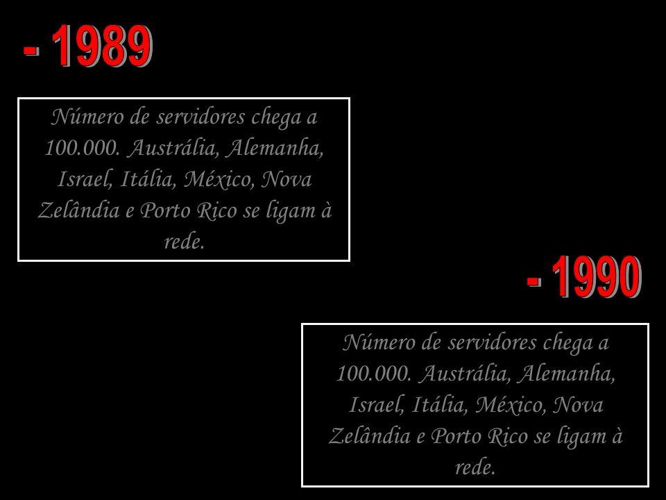 - 1989 Número de servidores chega a 100.000. Austrália, Alemanha, Israel, Itália, México, Nova Zelândia e Porto Rico se ligam à rede.
