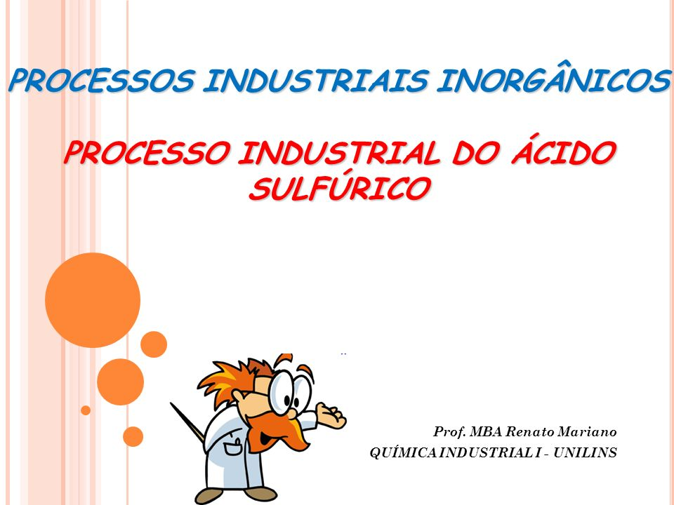 Prof. MBA Renato Mariano QUÍMICA INDUSTRIAL I - UNILINS