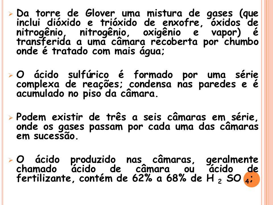 Da torre de Glover uma mistura de gases (que inclui dióxido e trióxido de enxofre, óxidos de nitrogênio, nitrogênio, oxigênio e vapor) é transferida a uma câmara recoberta por chumbo onde é tratado com mais água;
