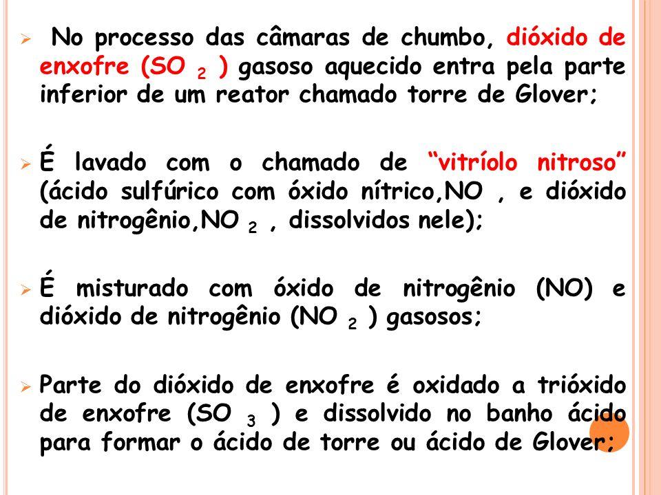 No processo das câmaras de chumbo, dióxido de enxofre (SO 2 ) gasoso aquecido entra pela parte inferior de um reator chamado torre de Glover;