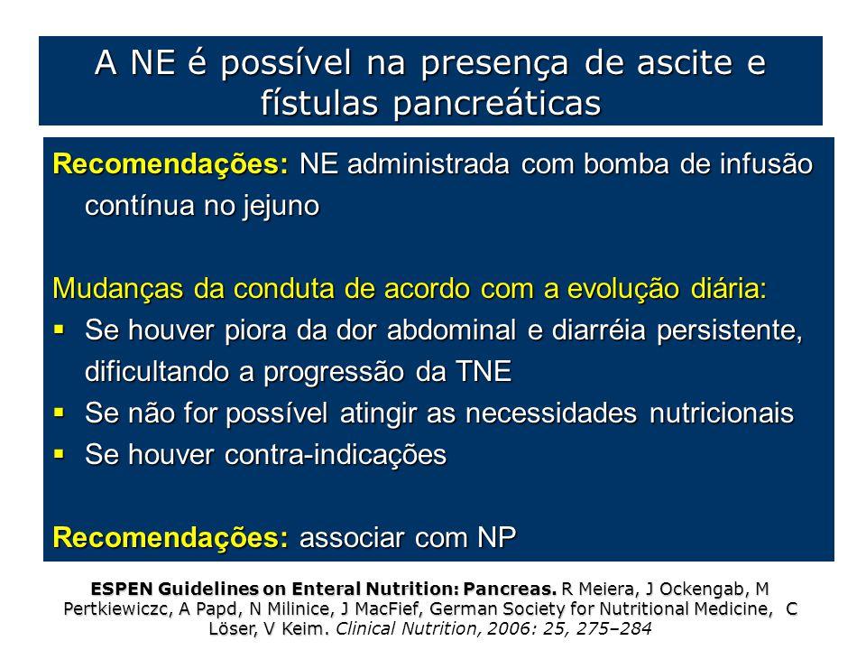 A NE é possível na presença de ascite e fístulas pancreáticas