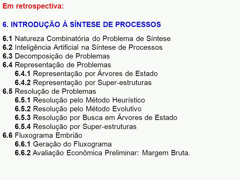 Em retrospectiva: 6. INTRODUÇÃO À SÍNTESE DE PROCESSOS. 6.1 Natureza Combinatória do Problema de Síntese.