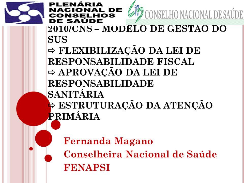Fernanda Magano Conselheira Nacional de Saúde FENAPSI