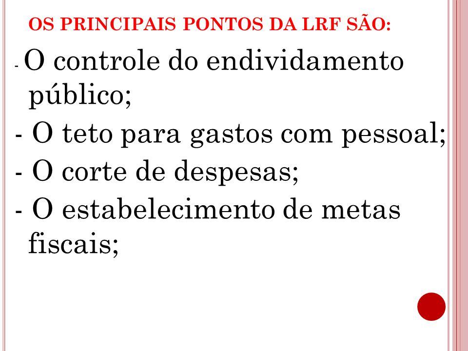 OS PRINCIPAIS PONTOS DA LRF SÃO: