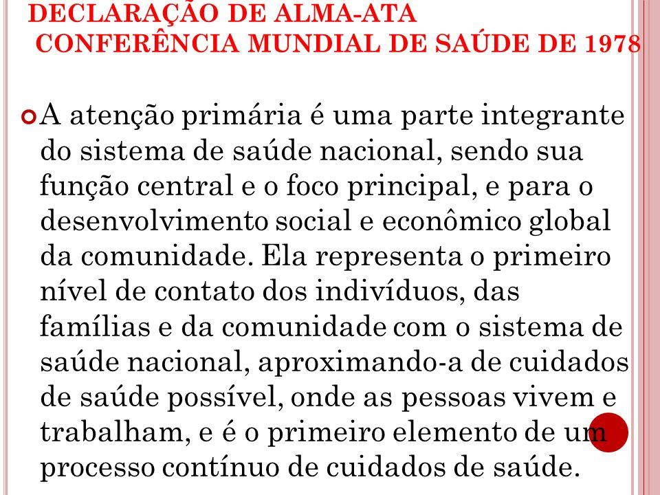 DECLARAÇÃO DE ALMA-ATA CONFERÊNCIA MUNDIAL DE SAÚDE DE 1978