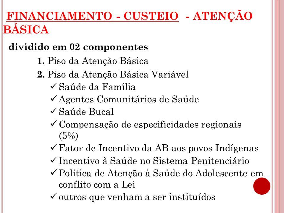 FINANCIAMENTO - CUSTEIO - ATENÇÃO BÁSICA